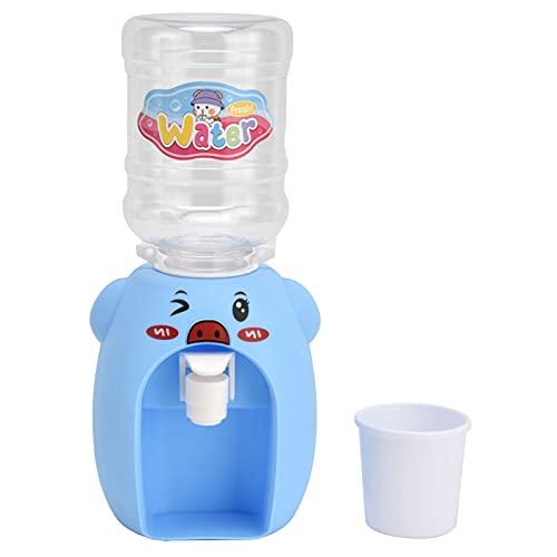 Les-Theresa Dispensador de agua de juguete, ABS Mini Dibujos Animados Bebida Dispensador de Agua de Simulación Dispensador de Agua Juguete de Cocina para Niños Cerdo Azul