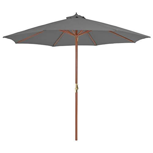 Festnight Sonnenschirm mit Holz-Mast | Balkonschirm | Gartenschirm | Marktschirm | Terrassenschirm Sonnenschutz | Strandschirm | Anthrazit 300 x 250 cm