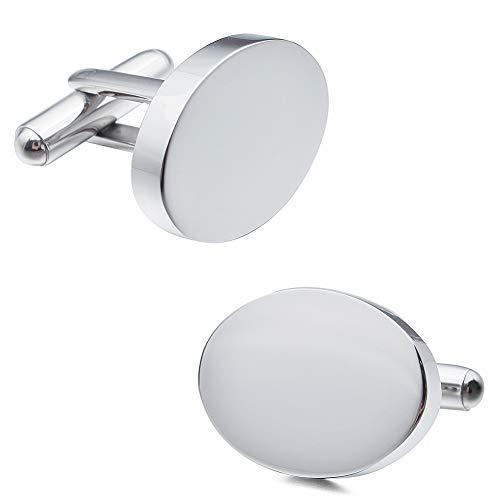 かわいいカフスボタン おしゃれステンレス鋼カフス 結婚式アクセサリー メンズ:楕円形