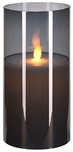 LED-Kerze aus Wachs im Glasbehälter, flammenlos, realistisch flackernd, batteriebetrieben. (Höhe 20 x Ø 10 cm, grau)