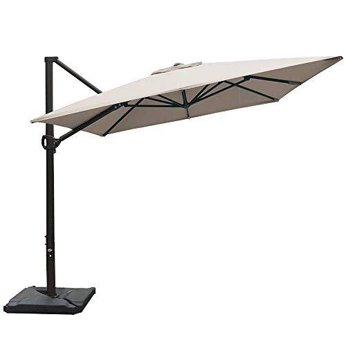 Abba Patio Rectangular Offset Cantilever Umbrella Outdoor Patio Hanging Umbrella with Cross Base, 8 x 10- Feet, Sand