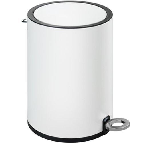 Wenko Kosmetik Treteimer Monza, Badezimmer-Mülleimer mit Absenkautomatik, kleiner Abfalleimer, integrierter Beutelhalter, 3 Liter, matt-weiß