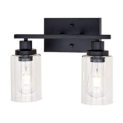 Banato Lighting Black Bathroom Vanity Light 2-Light Indoor Industrial Wall Light Fixtures with Clear Glass Shade for Bedroom Powder Room Living Room