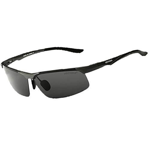 VEITHDIA Gafas de sol polarizadas para hombre, deportivas, de aluminio, magnesio, UV400, con bisagra de resorte para