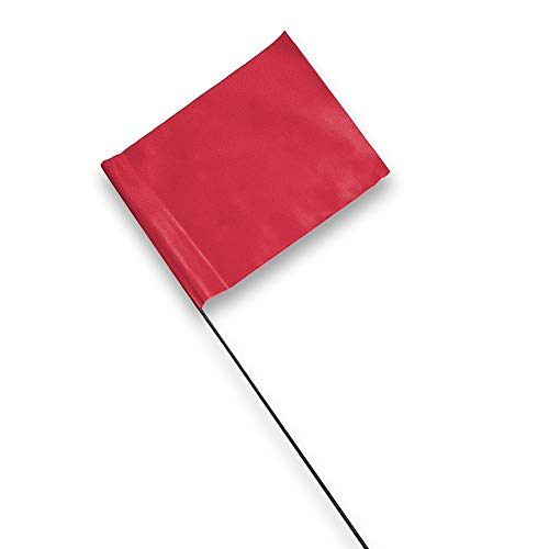 Marking Flags - 4 x 5-Inch Flag on 15-Inch Steel Wire - Fluorescent Red,...