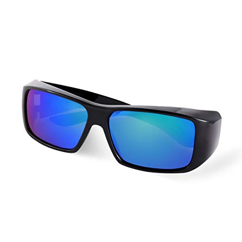 Br'Guras Unisex Polarized Fit Over Glasses Sunglasses with Mirrored Lens for Driving, Fishing, Hiking, Climbing (Black, Blue)