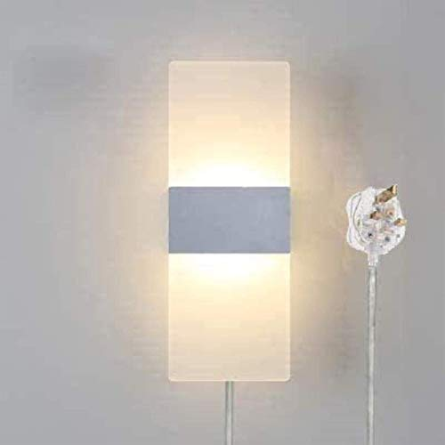 Luces de pared industriales, Lámpara de pared de estilo de creatividad cuadrada con enchufe de 1,8 m CE en cable transparente fácil de instalar la lámpara de pared sin perforar, bulbos no incluidos Lá