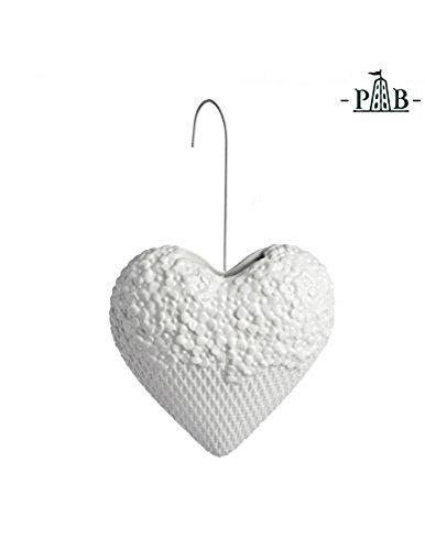 La Porcellana Leopoldina Flujo de humidificador, diseño de corazón, Color Blanco, 18cm