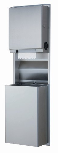 Bobrick 3961 ClassicSeries Stainless Steel Recessed Convertible Universal Paper Towel Dispenser/Waste Receptacle, Satin Finish, 12 Gallon Capacity, 17-3/16' Width x 56' Height