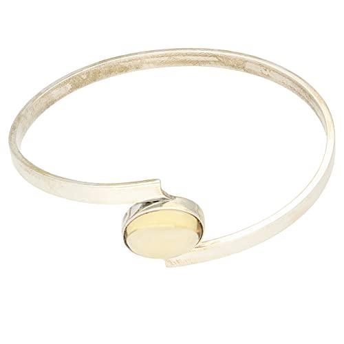 Jollys Jewellers Brazalete de cuarzo para mujer de plata de ley de 21 mm de ancho, 21 mm de ancho