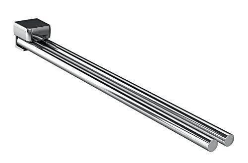 Emco Trend Handtuchhalter Chrom, Handtuchstange 2-armig, schwenkbar, zur Wandmontage, Länge 450 mm - 025000145, Grau