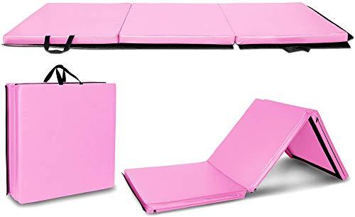 Lisaion Faltbare Gymnastikmatte für Gymnastik, Aerobic, 1,8 m x 6 m x 5,1 cm, PU-Leder, für Stretching, Yoga, Cheerleading, Kampfsport