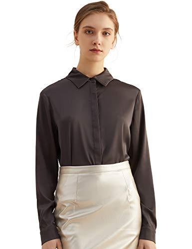Escalier Women's Satin Silk Long Sleeve Button Down Shirt Casual Work Office Silky Blouse Top Black-Grey S