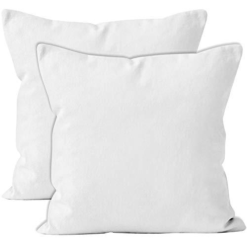 Encasa Homes Fundas de Cojines 2 Piezas (45 x 45 cm) - Blanco - Lona de algodón teñida Forma sólida, Decorativa, Grande y Colorida, Lavable Funda Almohada para Sala de Estar, Dormitorio