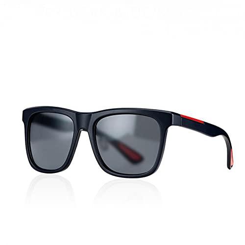 KANGDE Gafas De Sol Cuadradas Vintage para Hombre, Espejo De Gran TamañO, Marco Negro, Gafas De Sol para ConduccióN De Viaje, Gafas Polarizadas Vintage Uv400