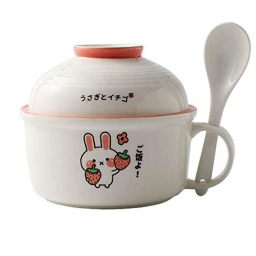 Large Ramen Bowl Bowl Ramen Bowl with Lid Mixing Bowl with Servers Set for Pasta Fruits Vegetables (Size : 12.5×14.5×14.5cm, Style : A)