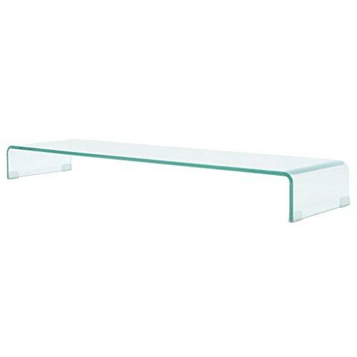 Festnight TV-Tisch aus Glas Bildschirmerhöhung Monitortisch Glastisch Fernsehtisch TV-Board Transparent 120x30x13cm