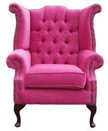 Designer Sofas4u Chesterfield Queen Anne Orthopädischer Stuhl mit hoher Rückenlehne, Pink