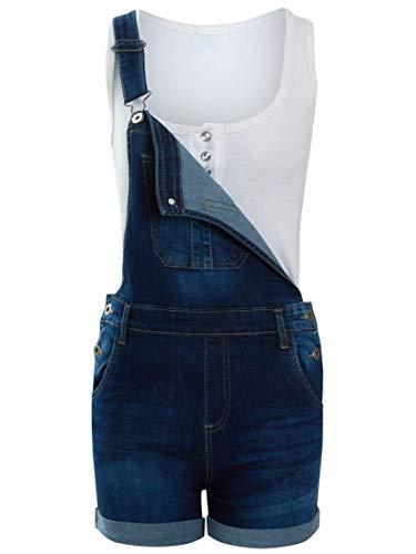 Girls Dungaree Shorts Stretch Denim Blue Girl Size Ages 7 8 10 12 13 Playsuit Short