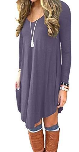DEARCASE Women's Long Sleeve Casual Loose T-Shirt Dress Purple Gray Large