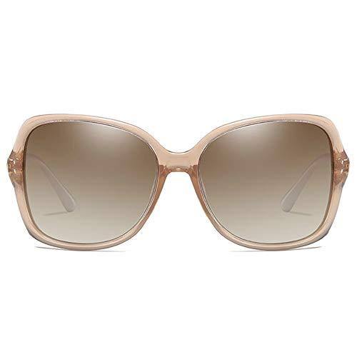 SWNN Sunglasses Clásico Nuevo Material for PC De Moda UV400 Gafas De Sol Rojas/Marrones/Lentes De Champán Marco Marrón Modelos Femeninos Gafas De Sol De Conducción (Color : Champán)