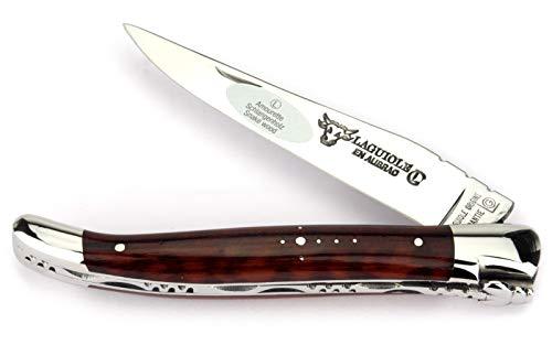 LAGUIOLE en Aubrac Taschenmesser L0212AMIF 12 cm, Griffschalen Schlangenholz Amourette, Klinge 10 cm glänzend, Backen glänzend