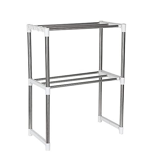 Horno de microondas de 2 capas, estante de almacenamiento de cocina, estante de almacenamiento lateral de la unidad con 8 ganchos, plateado