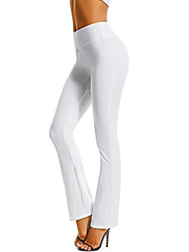 FITTOO Damen Bootcut Schlaghose Stoff Flared Pants Straight Bein Jogginghose Ausgestelltem Bein Yoga Hose Weiß XXL