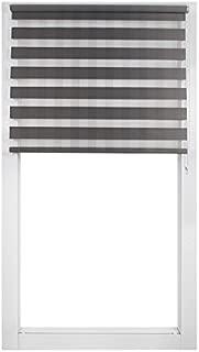 SCHRLING Zebra Roller Blinds Stripe Grey Dual Flat Sheer Shades 20