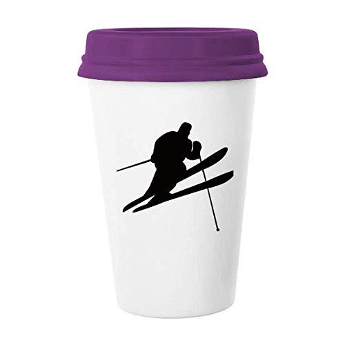 Taza de cerámica para esquiar con diseño de esquí