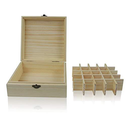 Boîte de rangement en bois pour huiles essentielles, peut contenir 25 bouteilles de 5/10/15 ml, en bois de pin naturel pour les jeunes vivantes, avec instructions (français non garanti).
