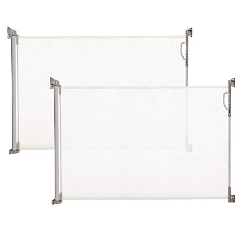 Dreambaby Retractable Gate - White (0 to 140cm) Extra-Tall Relocatable Mesh Safety Gate, Narrow to Extra Wide Baby & Dog Pet Stair Gate for Doorways Stairways & Hallways, Indoor & Outdoor 2 Pack
