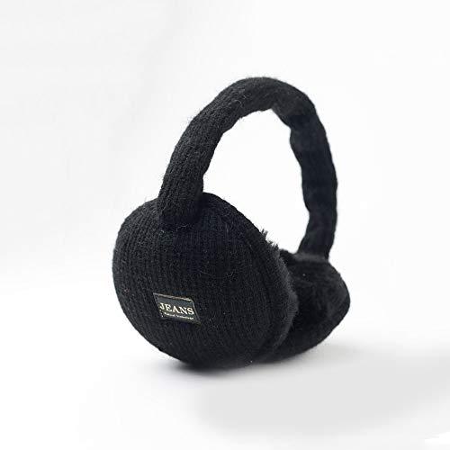 ZX Strick Ohrenschützer Verdickter Ohrenwärmer Winter Warme Ohrenschützer Bequeme Plüsch-Ohrtasche Weibliche Ohrenschützer (Farbe : SCHWARZ)