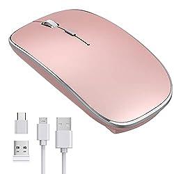 【Souris sans Fil Rechargeable】Batterie rechargeable de haute qualité intégrée, qui peut être rechargée via un câble USB, environ 1,5-2 heures de recharge complète. Économie d'énergie, la souris sans fil rechargeable est en veille après 3 minutes d'in...