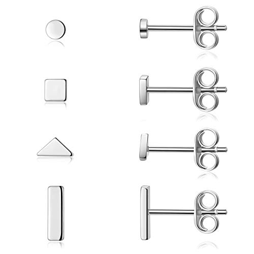 Sterling Silver Stud Earrings for Women Men- 4 Pairs of Hypoallergenic Simple Geometric Small Stud Earring Set Tiny Circle Triangle Square Bar Stud Earrings Mini Cartilage Tragus Earrings(Sliver)