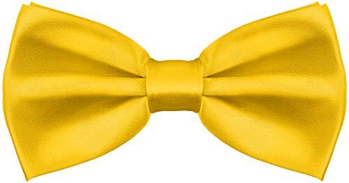 Balinco Edle Seidige Fliege bzw. Schleife mit Haken - bereits gebunden & in der Länge verstellbar - über 25 Farben wählbar (Gelb)