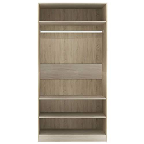 Bulufree Kleiderschrank mit 3 kleinen Fächern, Kleiderschrank mit Kleiderstange, Schlafzimmermöbel, 100x50x200 cm, Sonoma Oak