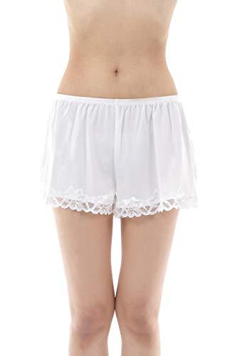 [Liapom] ペチパンツ ペチコート レース ショート パンツ 見せパンツ ショートパンツ 白パンツ 白パン ホワイトパンツ 短パン 一分丈パンツ いちぶたけパンツ インナースカート インナースカートパンツ インナーパンツ インナー 白 ルームぱんつレディース パジャマ 下 ルームウェア おおきいサイズ レディース (L-LL, ホワイト)