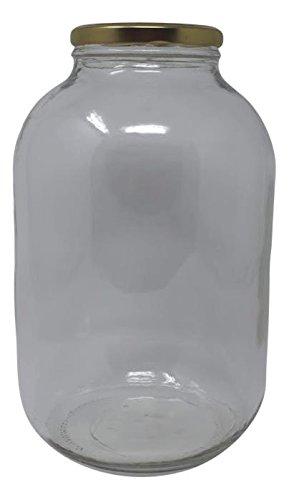 Wide Mouth Glass Jug Mason Jar with Gold Cap Metal Lug Lid/Ferment & Store Kombucha Tea or Kefir/Use for Canning, Storing, Pickling & Preserving Dishwasher Safe, Airtight Liner Seal, 1 gallon (1)