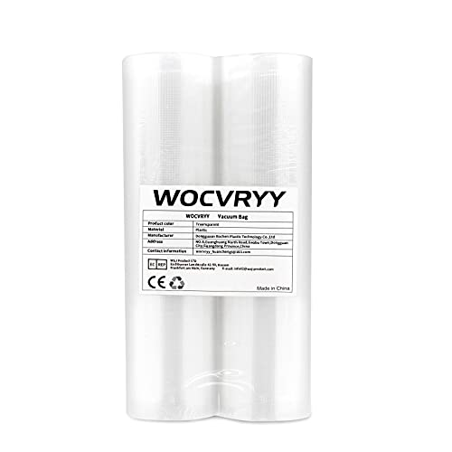 Vakuumrollen, WOCVRYY Vakuumierfolie 2 Rollen 20x500cm, Profi - Folienrollen Vakuumbeutel für Vakuumierer & Lebensmittel Vakuumiergerät, BPA-frei, Sous Vide Gefrierbeutel