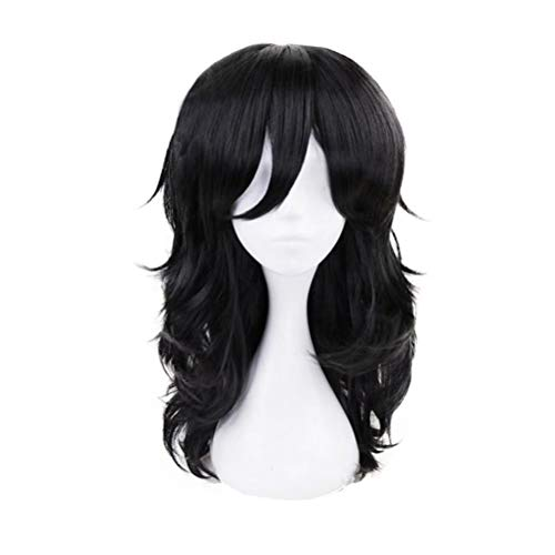 LZT Mid-Length 45cm Black Loose Curly Aizawa Shouta Cosplay Wig with Free Wig Cap(1161)