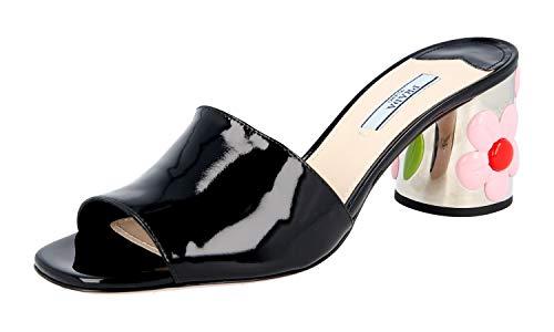Prada Women's 1XX310 069 F0002 Black Leather Sandals US 8.5 / EU 38.5