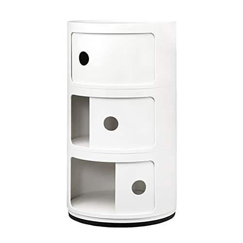 KTOL 58cm wit cilindrisch nachtkastje 3-lagige, stapelbare creatieve bank aan de zijkant tafel schuifdeurkast modern nachtkastje stabiel opbergplank ABS kunststof slaapkamer accessoires