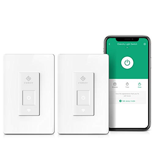 Etekcity Smart Light Switch Wifi Light Switch that Works with Alexa Google Home and IFTTT Neutral Wire Required No Hub Required 15A/1800W ETL/FCC Listed 2 Pack