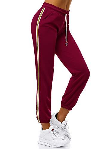 OZONEE Damen Jogginghose Hose Trainingshose Sporthose Freizeithose Motiv Damenhose Fitnesshose Sweatpants Sweathose Fußballhose Joggpants JS/1020/B13 WEINROT M
