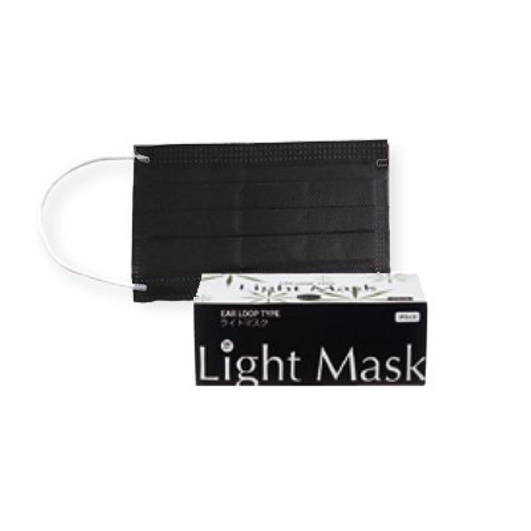 クロール技術爆風(ロータス)LOTUS ライトマスク (不織布 無地 2層 マスク 50枚入)(ブラック)花粉症対策