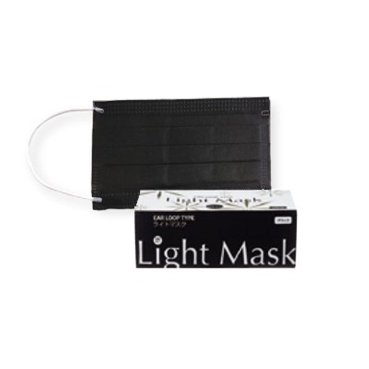ペルソナアラバマ高揚した(ロータス)LOTUS ライトマスク (不織布 無地 2層 マスク 50枚入)(ブラック)花粉症対策