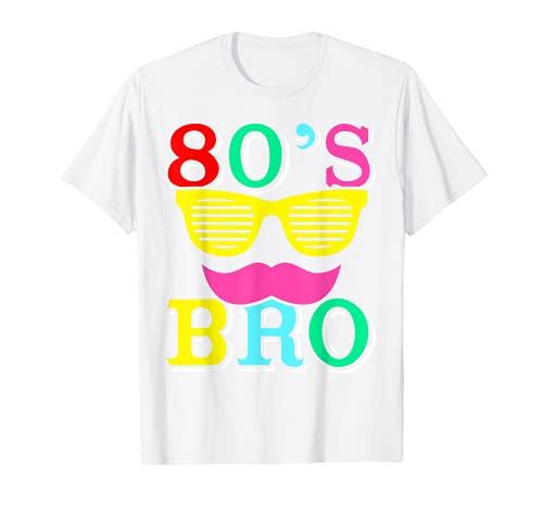 80s Bro Gafas de sol bigote 80s tema traje 80s Camiseta