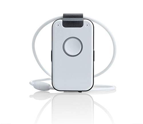 Wantec WX32 DECT Notrufsender mit Sprachbegleitung, Sturzerkennung, Erinnerungsfunktion, Rauchalarmerkennung und Sprach-Assistent, Schwarz