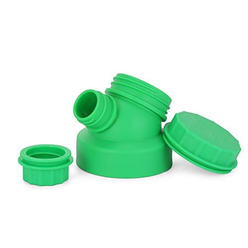 JuNiki's® Double Neck® Deckel Ersatzdeckel Sportdeckel Verschluss für JuNiki´s Trinkflaschen oder Hydro Flask Wide Mouth o.ä. - auslaufsicher, BPA frei - Pat. Pend. (Grün)